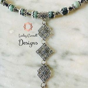 Jewelry - African Turquoise & Blk Diamond Swarovski Necklace